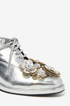 Jeffrey Campbell Novak Floral Shoe - Silver - Shoes | Oxfords | Jeffrey Campbell