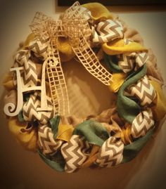 Blue Yellow and Chevron Burlap Wreath by CustomCraftsByEmily