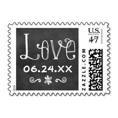 Wedding Love Postage | Black Chalkboard Charm