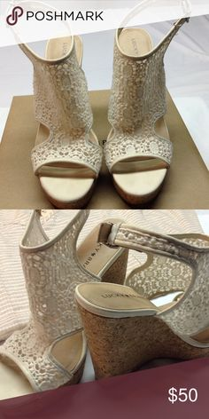 """Natural /cloud Cream wedge sandal-NWOT The style name is Raziah - the color is natural / Cloud Cream / the heel measures 5"""" - new in box without tags . Lucky Brand Shoes Wedges"""