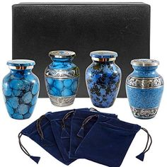 Well Lived® White Enameled Small Keepsake Set of 4 Cremation Urn for human ashes