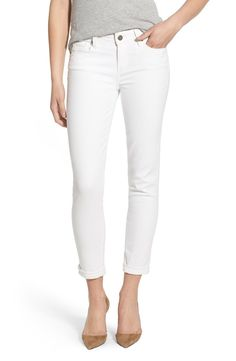 Size 24 PAIGE 'Skyline' Crop Skinny Jeans (Optic White) available at #Nordstrom