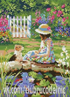 The Reading Lesson Cross Stitch For Kids, Mini Cross Stitch, Cross Stitch Rose, Cross Stitch Alphabet, Cross Stitch Animals, Cross Stitching, Cross Stitch Embroidery, Embroidery Patterns, Modern Cross Stitch Patterns