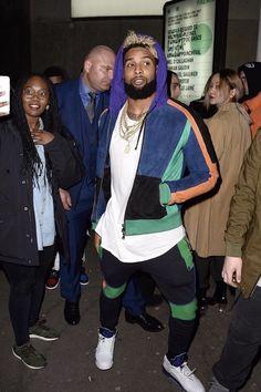 Odell Beckham Jr. wearing Balmain Color Block Puffer Jacket, Balmain Color Block Joggers, Jordan 5 Retro Grape Sneakers