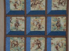 Quilt cowboy western baby wall quilt Attic by gafamilyheirlooms, $80.00