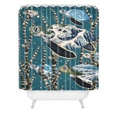 Belle13 Sea Turtle Migration Shower Curtain | DENY Designs Home Accessories
