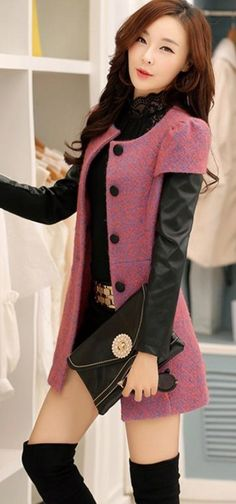 Stylish Cashmere Coat with PU Leather Sleeves YRB0440 #PUleather