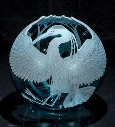Glass Vessel, Glass Art, Robot Design, Blue Heron, Blue Art, Hand Blown Glass, Snow Globes, Christmas Bulbs, Wings