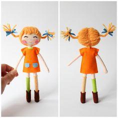 Pippi Longstocking 18cm art doll. Pippi by WhisperOfThePipit