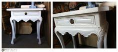 Mesa de pino pintada de blanco.