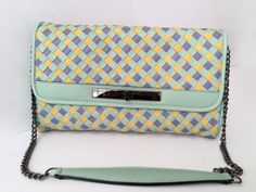 SALE ! Leather clutch, Tricolor Mint Yellow Purple leather bag, Women leather clutch, Braided leather strips, Genuine leather purse, Pouch