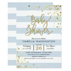 299 best elegant baby shower invitations images on pinterest in 2018 baby shower elegant gold confetti blue stripes invitation filmwisefo