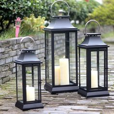 Modern Stainless steel Portable Hurricane lamp candle holders