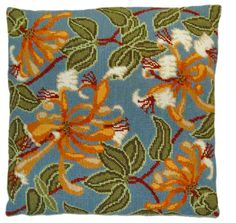 Honeysuckle Cushion Front - tapestry kit by Cleopatra's Needle - From the Nature's Garden Collection this has large honeysuckle flowers and leaves on a grey blue background. Cleopatra's Needle, Honeysuckle Flower, Tapestry Kits, Blue Backgrounds, Cushions, Pillows, Needlepoint, Cross Stitch Patterns, Embroidery