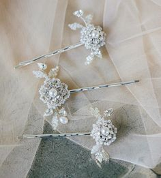 Copy of Floral Wedding Hair Pins with Lace, Crystal, Pearl Embellishment Floral Wedding Hair, Wedding Hair Pins, Bridal Lace, Wedding Gowns, Bridal Hair Ornaments, Bridal Jewelry Vintage, Chic Vintage Brides, Hair And Makeup Tips, Lace Earrings