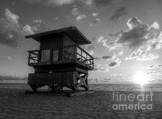 Watching Too ©Richard Reeve Photography. More available on reevephotos.com [Please keep original credit text when you repin] #hdr #beach #blackandwhite #sunrise #beachtower