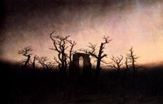 Tableaux sur toile, reproduction de Friedrich, Abbey Under Oak Trees
