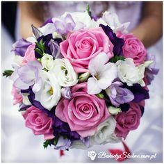 Bukiet ślubny - frezje, róże, tulipany, goździki