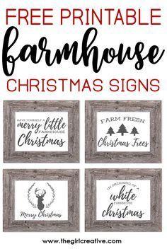Free Printable Farmhouse Christmas Signs The Girl Creative Christmas Signs Free Christmas Printables Farmhouse Christmas
