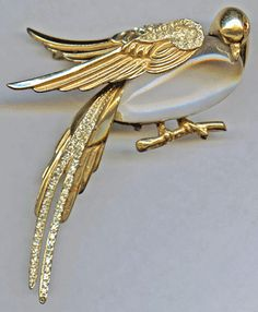 1940's CORO-CRAFT Sterling Rhinestone Jelly Belly Love Bird Brooch