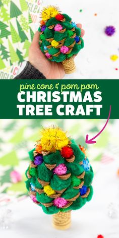 Pine Cone Christmas Tree Craft - Fireflies and Mud Pies crafters are loving this Christmas tree craft for kids! You only need a pine cone, pom poms, a wine cork, and glue to make it! Follow us on Pinterest for more easy crafts for kids! 🎄 ⭐️ Pine Cone Christmas Tree, Christmas Ornament Crafts, Christmas Toys, Homemade Christmas, Christmas Ideas, Arts And Crafts For Kids Toddlers, Crafts For Kids To Make, Recycled Wine Corks, Festive Crafts