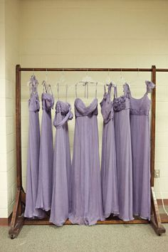 Mismatched purple dresses that don't match but still somehow work together......perfect for the wedding!