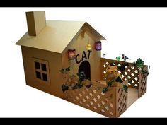 How to make a house for a cat out of cardboard - YouTube