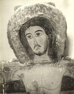 Anonimo , Sotio Alberto - scuola - sec. XIII - Croce dipinta: Cristo crocifisso - particolare, prima della rimozione delle ridipinture