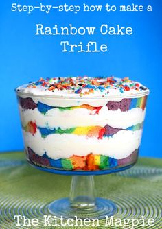 Easy, beautiful and delicious, my Rainbow Cake Trifle is sure to be a hit! | The Kitchen Magpie