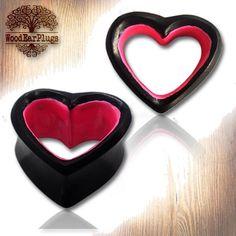 Great Pair of Organic Ebony Wood Plugs Double Flare Ear Plug Gothic Punk Pink Heart Size g