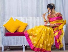 Here is the latest elegant yellow and pink color kota sarees with polka dots with pink color border .We can match this saree with desi...