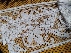 Antique Net Shelf Edging or Curtain Cotton Off White French Filet Vine Leaves Desing Linen Home Decor #sophieladydeparis by SophieLadyDeParis on Etsy