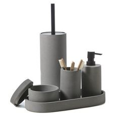 In a contemporarygrey concrete design, the Urban bathroom accessories are ideal for a modern home. With sleek black detailing on the soap dispenser and toilet brush holder, these designs will replace any others as your new favourites.