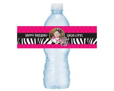 Hot Pink Mod Zebra Print 1st Birthday Water Bottle Drink Labels -- Set of 5 Labels on Etsy, $3.25