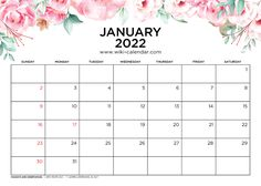 January 2022 Calendar Printable with Holidays