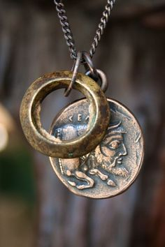 Solid Bronze Greek Coin Bull Man Necklace with Antique African Brass Ring