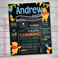 Winnie The Pooh First Birthday Chalkboard by CheeriozDezigns