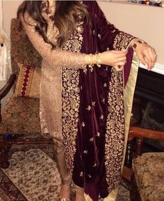 Velvet shawl with screen printing and handwork details. Simple Pakistani Dresses, Pakistani Dress Design, Indian Dresses, Pakistani Wedding Outfits, Wedding Dresses For Girls, Stylish Dresses, Fashion Dresses, Velvet Dress Designs, Shadi Dresses