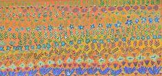Margaret Kemarre Ross Bush Flowers and Bush Medicine Plants Acrylic on linen, 107 x 51cm Artists of Ampilatwatja Eastern Desert, NT. For more Aboriginal art visit us at www.mccullochandmcculloch.com.au #aboriginalart #australianart #contemporaryart