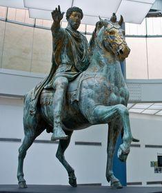 PUBLICIDAD DEL REY: ICONOGRAFÍA AÚLICA:REY CONQUISTADOR:  Marco Aurelio a caballo, Museo Capitolino, Roma (Italia), s. III a. C.