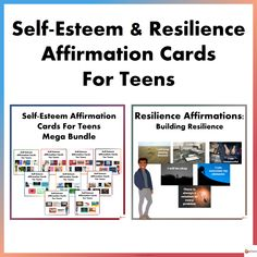 Self-Esteem and Resilience Affirmations Cards for Teens from A Plus Learning I Will Be Okay, Self Esteem Affirmations, Building Self Esteem, Research Skills, Affirmation Cards, You Are Blessed, You Are Worthy, I Deserve, High School Students