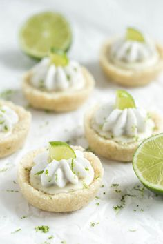 No Bake Mini Key Lime Pies are a layer of crust filled with key lime filling and topped with whipped coconut cream! These little bites pies are gluten free, vegan, and paleo. They are the perfect summer dessert for both kids and adults. Mini Desserts, Vegan Desserts, Raw Food Recipes, Delicious Desserts, Healthy Recipes, Healthy Food, Gluten Free Sweets, Gluten Free Recipes, Paleo Dessert