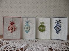 Card set made using the Ornament Keepsakes set from Stampin' Up.
