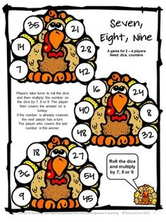 Turkey Math Games Multiplication and Division from Games 4 Learning is a collection of 7 Math Board Games with a turkey theme. $