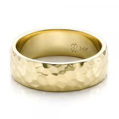 Custom Men's Hammered Yellow Gold Wedding Band - 100269 | Joseph Jewelry Seattle Bellevue