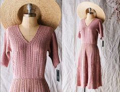 1930s Crocheted Dress Coral Pale Pink Knit Cotton sz Small