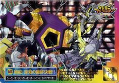 This is an official Digimon Adventure Carddass Part 4 prism card (similar to sticker of which the front can be peeled off) featuring No. 147 - WarGreymon & MetalGarurumon & HolyAngemon VS Apocalymon released in the year 2000 in Japan.   Rare and hard to find. Meant for those hardcore Digimon fa...