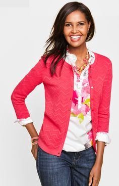 263e5d56e89 A pink cardigan is an essential layering piece. Love the floral shirt under  the sweater