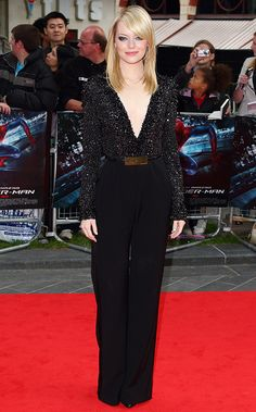 Emma Stone in a black Elie Saab jumpsuit with an embellished, plunging neckline at the London premiere of The Amazing Spider-Man.