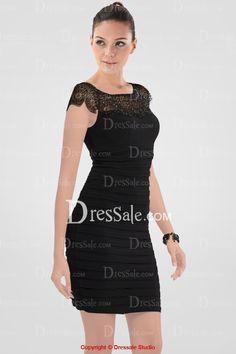 Chic Sheath Pleated Mini Cocktail Dress Featuring Illusion Beaded Panel